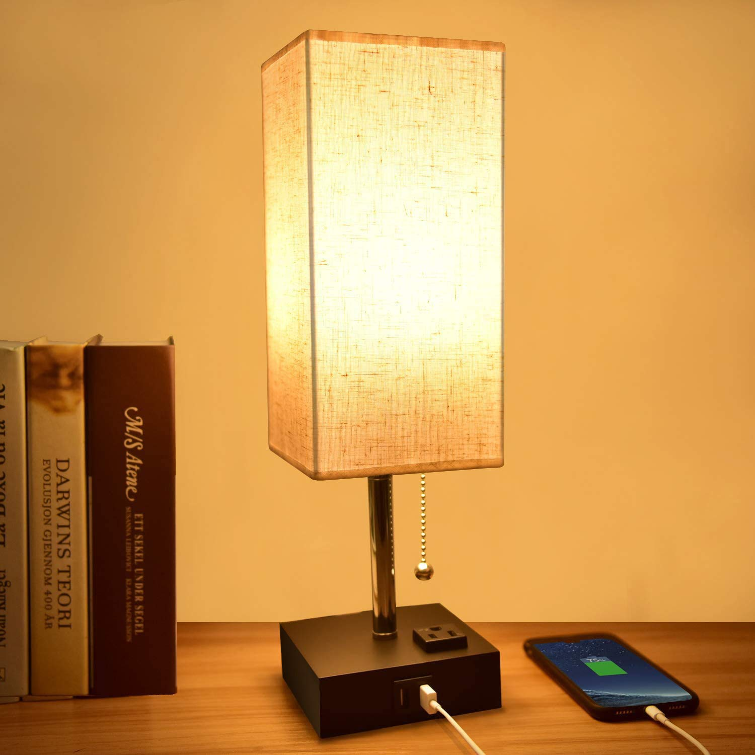 Amazon Com Usb Table Lamp Comzler Modern Bedside Lamp With Usb Port To Recharging Your Devices Warm Led Bulb Included Ambient Light Fabric Shade Nightstand Lamp Perfect For Bedroom Home Improvement