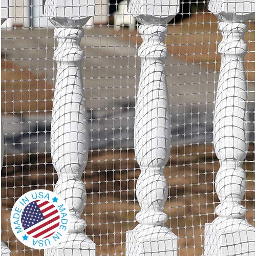 Kidkusion Deck Guard - 30' L x 34' H - Made in USA - Outdoor Balcony and Stairway Deck Rail Safety Net - Clear - Child Safety; Pet Safety; Toy Safety