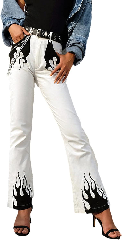 Women High Waist Wide Leg Pants Y2k Flame Print High Trousers Cotton 90s Casual E Girl Streetwear