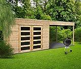 Solid Abri de Jardin en Bois Trait Autoclave avec terrasse latrale Salerno 5,40 m