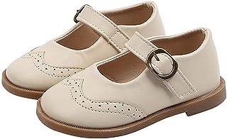 Zapatos de Cuero de Princesa para niñas Ligeros Bajos con Punta Redonda Zapatos Planos Mary Jane Zapatos de Vestir de Suel...