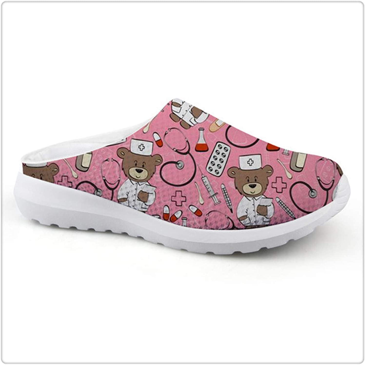 NNHLPO& Cute Nurse Bear Print Casual Slip-on Women's Sandals Home Mesh Female Flats