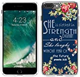 8 Plus Case Christian Sayings,7 Plus Case Bible Verses for Girls,Hungo Protective Cover Compatible with iPhone 7 Plus/8 Plus She is Clothed with Strength and Dignity Proverbs