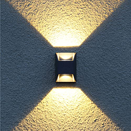 WRMING Apliques de Pared Exterior Jardin 6W LED Lampara de Pared Arriba/Abajo Moderna Diseño Aluminio Focos pared para Interior Balcón Jardín Porche Camino Patio, IP54 Impermeable, Negro,3000k