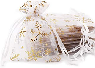 SumDirect 20Pcs 3.5x4.7 inches Sheer Drawstring Organza Jewelry Pouches Wedding Party Christmas Favor Gift Bags(White with Gold Snowflake)