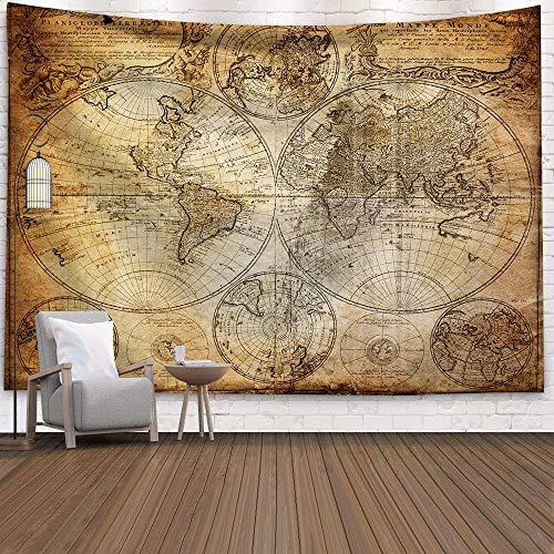WERT Mapa del Mundo 3D geométrico Tapiz Colgante de Pared Toalla de Playa decoración del hogar Tapiz de Tela de Fondo A9 73x95cm
