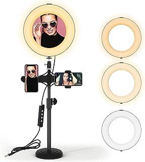 JIM'S STORE Aro de Luz LED Regulable,Soporte Luz para móvil con 3 Modos y 10 Niveles de Brillo para Youtube Maquillaje Sel...