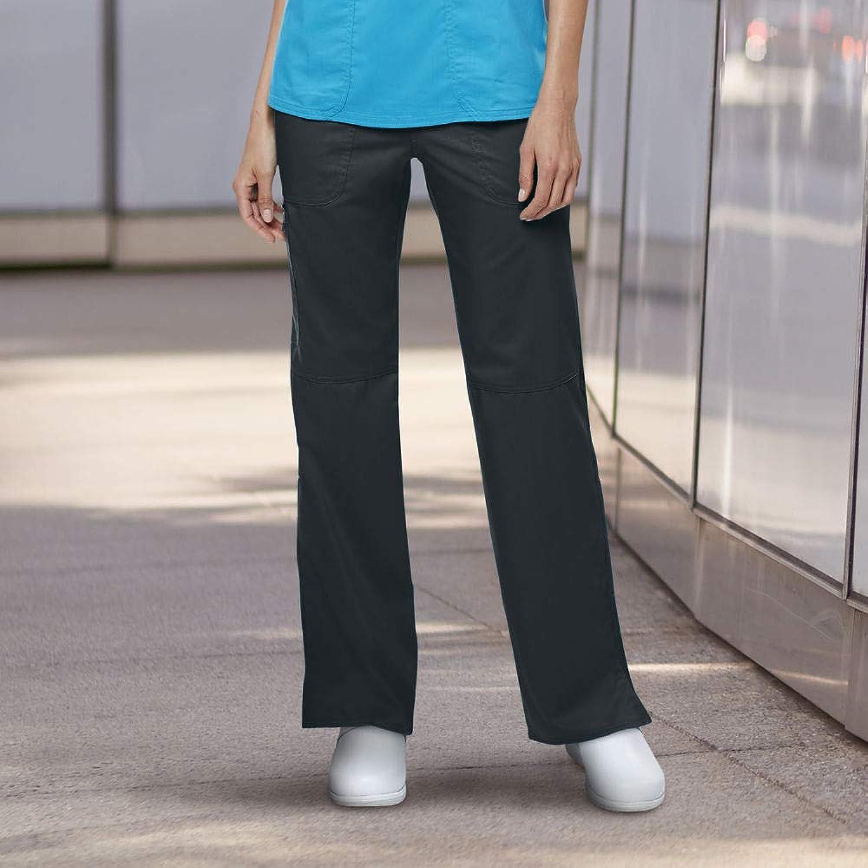 Cherokee Women's Mid Rise Straight Leg Pullon Pant, Black, M