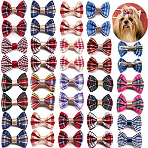 Masue Pets 60pcs/30pairs Puppy Dog Hair Bows with Rubber Bands/Clips Classic Plaid Bows Dog Bowknot Bows Small Dog Accessories Holidays (60pcs with Clips)