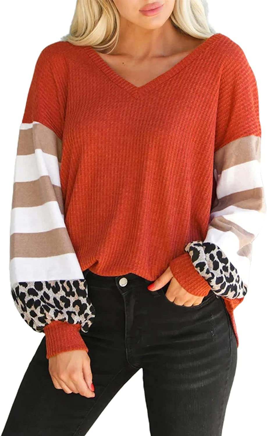 ROSKIKI Womens Casual Tunic Tops Leopard Long Sleeve Waffle Knit Orange Blouse with Twist Knot Loose Shirts
