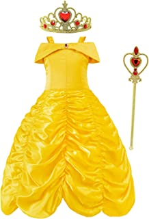 Juammy Girls Princess Party Dress Belle Cosplay Costumes Dress up for Halloween and Christmas Yellow3-8 Years