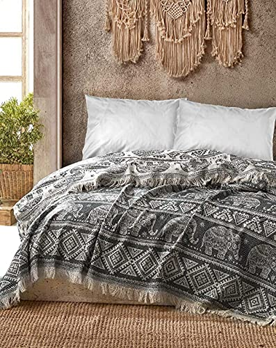 BOHORIA® Premium Tagesdecke Bali | 100prozent Baumwolle | Oeko-Tex® | Bettüberwurf Wohndecke Wendedecke Sofadecke mit Muster | extra-groß 220 x 240 cm (Elephant)