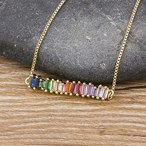 SONGK Collar de arcoíris de circonita de Cobre, Collar de Cadena con Colgante de Diamantes de imitación Coloridos, joyería para Fiesta de cumpleaños de Navidad, Regalo