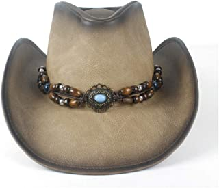 Fashion Hats, Caps,Elegant Hats, Natural Caps Leather Cowboy Hat Fashion Women Men Leather Cowboy Hat with Turquoise Leather Strap Fedora Cowgirl Caps (Color : Tan, Size : 58-59)