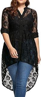 Blusa Tallas Grandes Mujer,Covermason Blusa de Mujer Talla Grande Camisa de Manga Larga de Encaje Botón de Perspectiva Arriba Mujer Tops