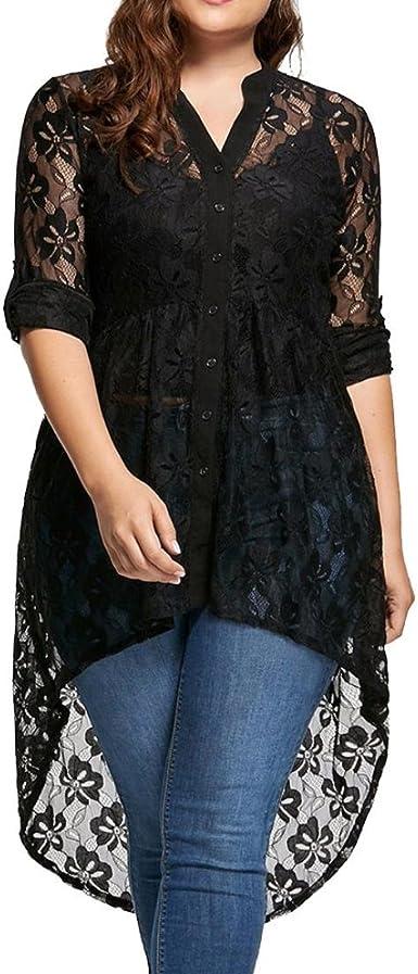 Blusa Tallas Grandes Mujer,Covermason Blusa de Mujer Talla Grande Camisa de Manga Larga de Encaje Botón de Perspectiva Arriba Mujer Tops(2XL, Negro)