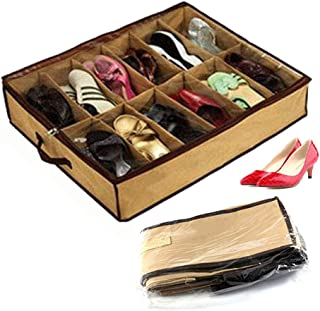 Under Bed Shoe Organizer - Storage Organizer for Closet, Underbed Shoe Storage Solutions with Clear Cover (12 Pairs)