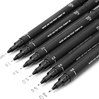 Uni Pin Drawing Pens/6 Assorted Tip Sizes, Uni Pin Technical Fineliner Pens, Pack of 6 Assorted Tip Sizes, Black Ink