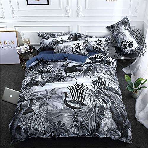 Ouduo Exotic Duvet Cover Set Bedding, Microfiber Chinoiserie Flowers Printed with Zipper Closure Soft Quilt Cover Bedding Set with Pillow Cases (230x260cm,Gray)