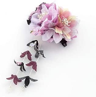 [ミッシュキッシュ]髪飾り ヘアアクセサリー コサージュ 2輪と下がりの和柄クリップ 4517-576