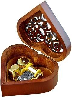 Best WESTONETEK Heart Shaped Vintage Wood Carved Mechanism Musical Box Wind Up Music Box Gift for Christmas/Birthday/Valentine