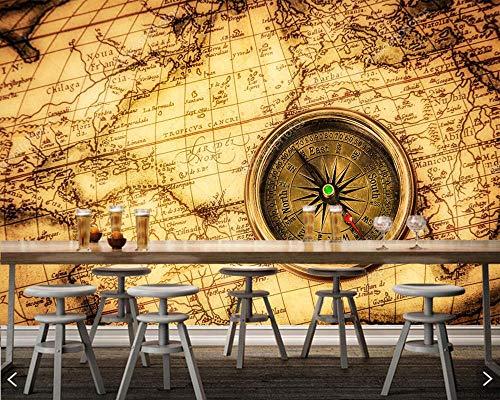 Mbwlkj Brújula Vintage Mapa Del Mundo Antiguo Papel pintado 3D Sala De Estar Sofá Cama Pared Pared Papeles Decoración Para El Hogar Bar Mural-250cmx175cm