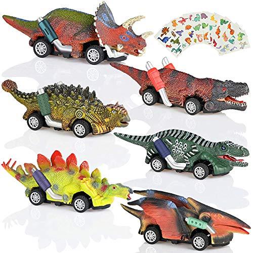 Dinosaurier Auto Spielzeug,GOLDGE 6Pcs Dinosaurier Ziehen Autos Zurück Dinosaurier Spielzeugauto Dinosaurier Spielzeug mit Dinosaurier Aufkleber für Geschenke ab 3-8 Jahre Jungen Mädchen