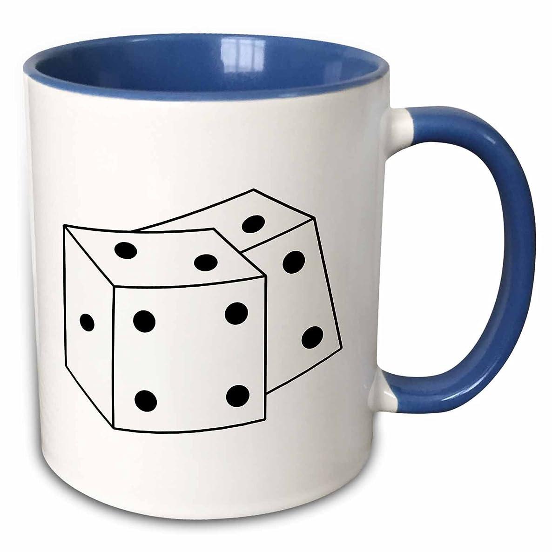 3dRose PS Art - Black and White Dice - 15oz Two-Tone Blue Mug (mug_192800_11)