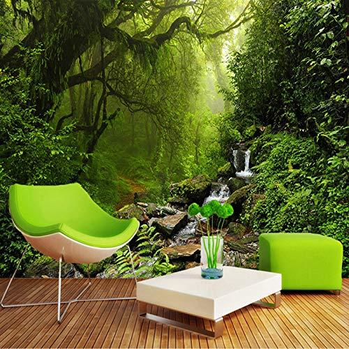 BHXIAOBAOZI Papel Pintado Personalizado 3D Foto Mural Verde Bosque Naturaleza Paisaje Grabado Papel Pintado para Sala De Estar Dormitorio Decoración Murales De Pared,220Cm (W) X 140Cm (H)