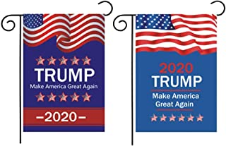 BinaryABC Trump 2020 Garden Flags,Keep America Great Again Garden Flags,American President Election Yard Outdoor Decoration,Election Day Favors Decorations,2Pcs