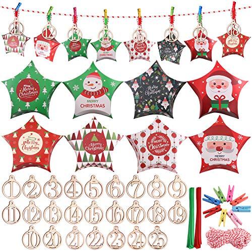 Minterest Calendario avvento,25 Calendario avvento Fai da Te con Corda da 40 Piedi Clip di Legno Fette Nastri per Forniture per Decorazioni per Feste di Natale