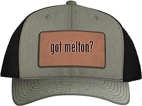 One Legging it Around got Melton? - Leather Dark Brown Patch Engraved Trucker Hat