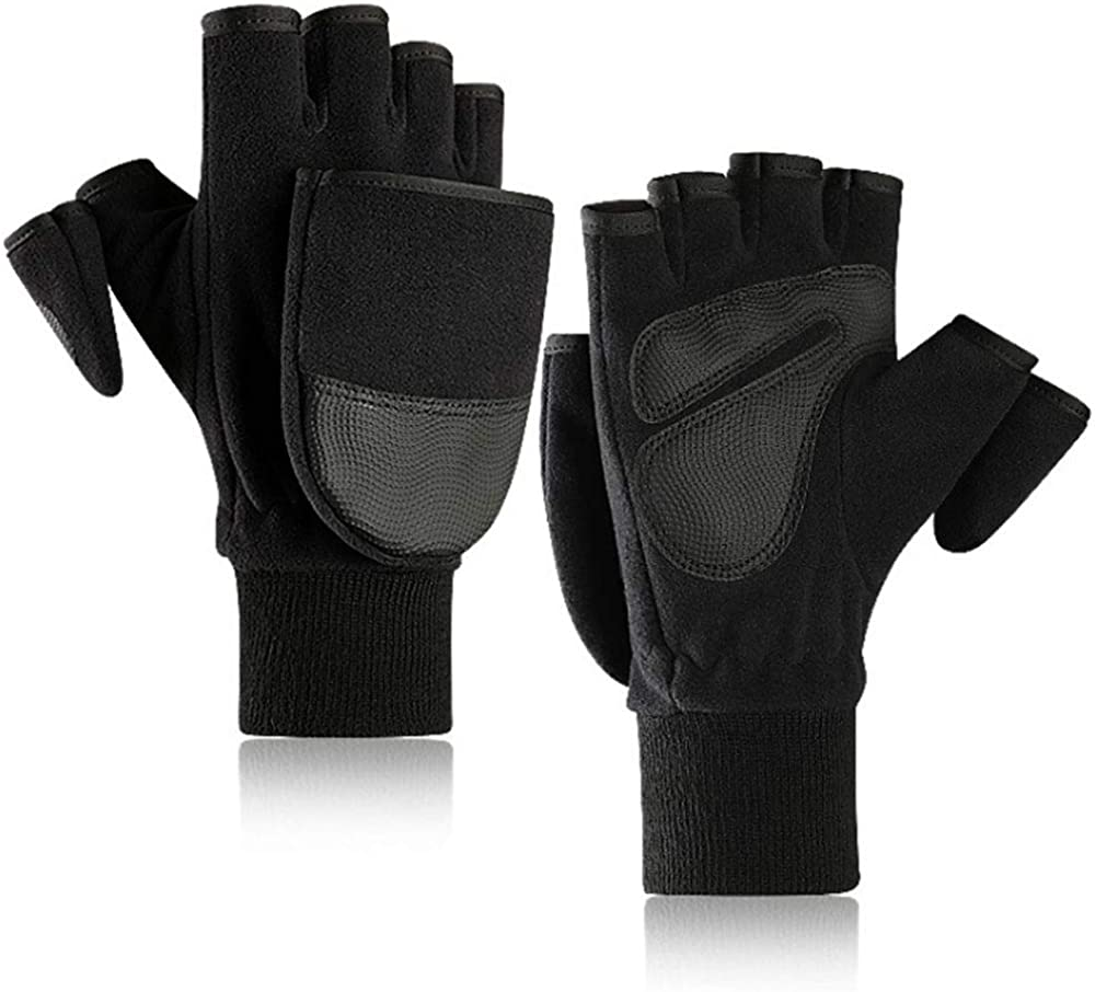 Meyaus Unisex Adults Winter Warm Fleece Convertible Fingerless Gloves Flip It Mitten Gloves