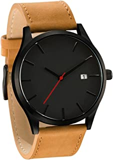 HOT! Mens Quartz Wristwatch, Fashion Popular Low Key Minimalist connotation Leather Clock (black 2)