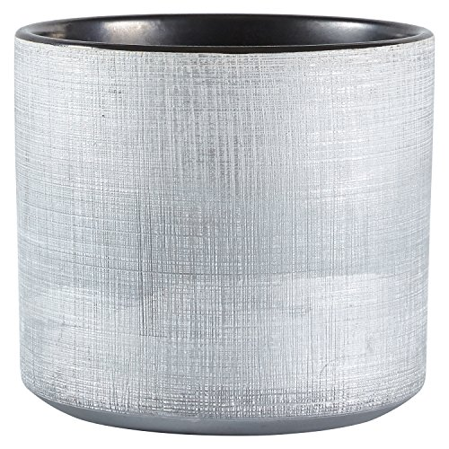 Rivet - Übertöpfe in Silberfarben, Größe Pflanztopf in Größe M