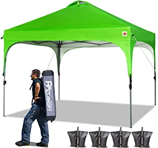 ABCCANOPY Canopy Tent 10x10 Pop Up Canopy Instant Tents Outdoor Canopies Popup Beach Canopy Shade Canopy Tent with Wheeled Carry Bag Bonus 4 Weight Bags, 4 x Ropes& 4 x Stakes, Kelly Green