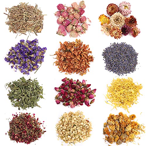 Hierbas y Flores Secas Kit de 12 Tipos de Flores Secas Naturales Jazmín Lavanda Nomeolvides Rosa Crisantemo Limoncillo Menta para hacer velas de jabón DIY Hacer joyas de resina Aroma Bombas de baño