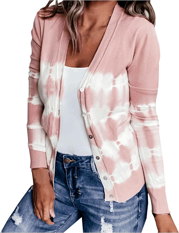 JPLZi Women's V Neckline Button Down Knitwear Long Sleeve Basic Striped Knit Cardigan Sweater Coat Tops Casual Sweatshirt