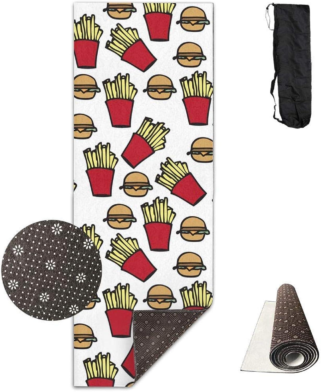 70Inch Long 28Inch Wide Comfort Velvet Yoga Mat, Burger and Fries Mat Carrying Strap & Bag
