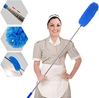 Plumero extensible, plumero de microfibra desmontable y flexible, plumeros telescópicos extra largos de acero inoxidable de 110 pulgadas con tapa de silicona suave, perfecto para limpiar telarañas