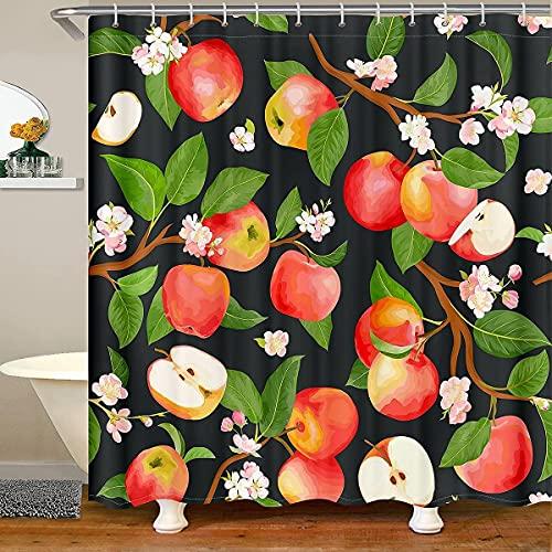Homemissing Äpfel Stoff Duschvorhang Textil Fresh Obst Duschvorhang 180x180cm für Kinder Jungen Mädchen Grüne Blätter Pflanze Badezimmer wasserdichte Accessoires mit Haken Botanische Zweige Dekor