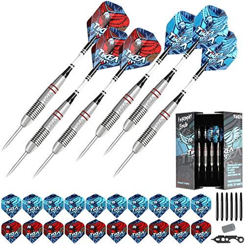 Tikea 6 Stück Steel Dartpfeile - Profi-Pfeile aus Stahl mit Aluminiumschäften, Extra-Flüge, Dartschärfer, Magische Box, 24g
