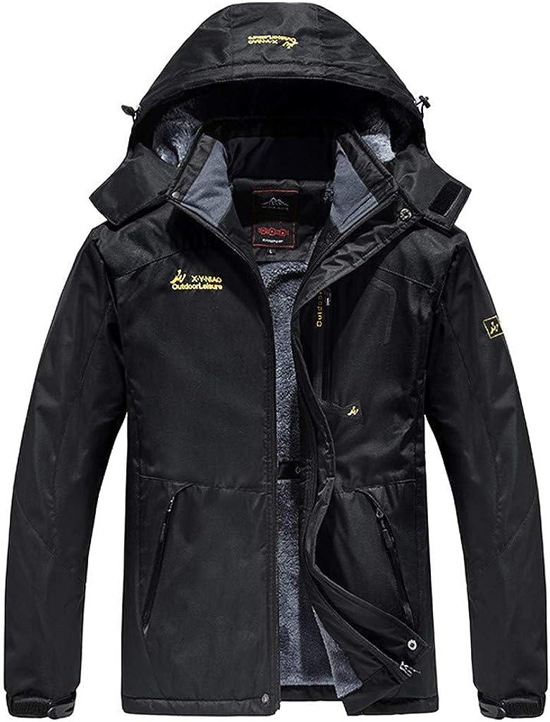 Winter Warm Windbreaker Jackets Men NRUTUP Fleece Lined Waterproof Windproof Softshell Jacket Full Zip Detachable Hood