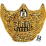Rhinestone Skull Teeth Jaw Mouth Mask Cosplay Mask Halloween Mask Steampunk Party Dance Mask (Gold)