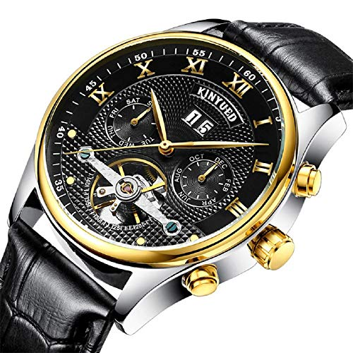 KINYUED Men Automatic Mechanical Watch Luminous Luxury Brand Leather Business Fashion Casual Self-Wind Stainless Steel Sports Watches