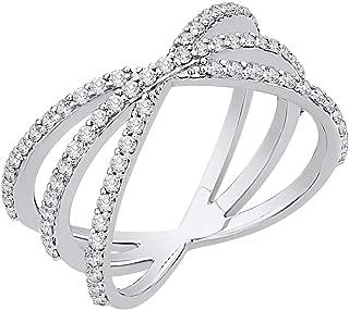 Diamond Criss Cross Orbit Ring in 10k Gold (5/8 cttw, J-K, SI2-I1)