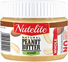 Nutelite Natural Peanut Butter (Whole) Smooth (Unsweetened, Non-GMO, Gluten Free, Vegan),  340 g
