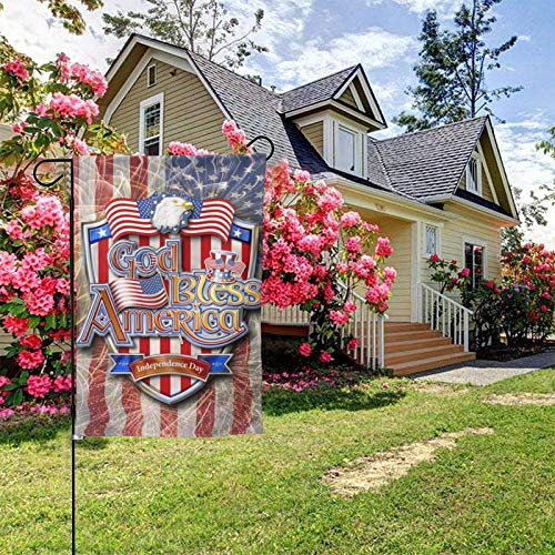 God Bless America Garden Flags 12.5X 18 Inches Bald Eagle and American Flag,Stars and Stripes Shield On Firework Background House Flags Home Outside Decoration Banners Courtyard