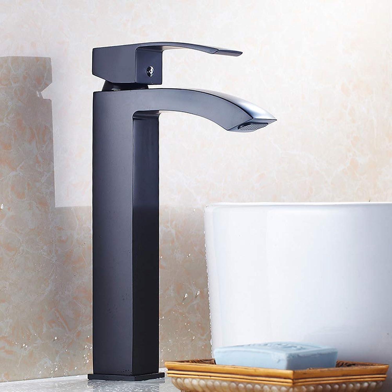 Modernen Becken Wasserhahn Dumm Schwarz Farbe Malen Hoher Waschtischarmatur Badezimmer aus Messing heies und kaltes,schwarzFaucet