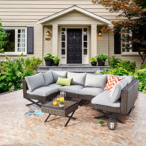 Festival Depot 7pcs Outdoor Furniture Patio Conversation Set Sectional Corner Sofa Chairs with X Shaped Metal Leg All Weather Brown Rattan Wicker Ottoman Side Coffee Table with Grey Seat Back Cushions